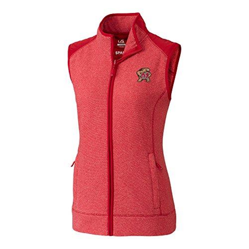Cutter & Buck NCAA Maryland Terrapins Adult Women Cedar Park Full Zip Vest, X-Large, Cardinal Red Heather