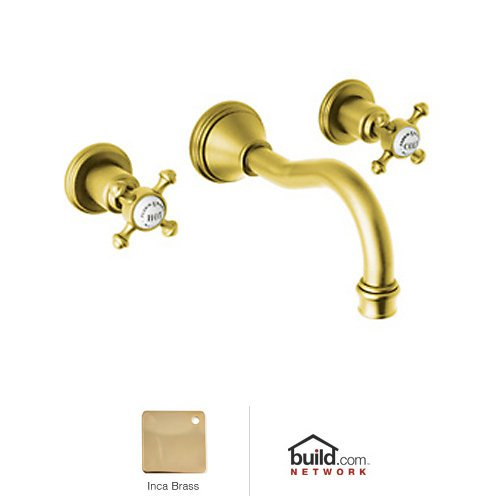 Era 3 Hole Column Spout (Rohl U.3794X-IB-2 Perrin and Rowe Georgian Era Wall Mounted Three Hole Widespread Column Spout Lavatory Faucet Set in Inca Brass with Cross Handles)