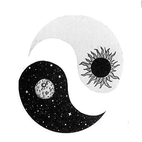 LBBMBC Sun y Moon Yin y Yang Pegatinas para Tatuajes temporales a ...
