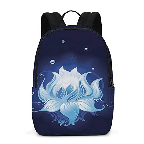 - Floral Durable Backpack,Zen Lotus with Dew Drops Reflected in Dark Water Background Yoga Spirit Image for School Travel,One_Size