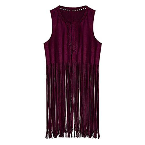 〓COOlCCI〓Women Fringe Outerwear Vest Faux Suede Tassels 70s Hippie Clothes Open-Front Sleeveless Vest Cardigan Female Red (1970s Shirt Western)