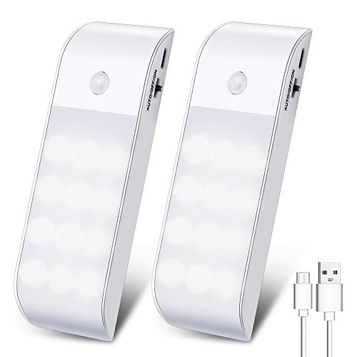 Motion Sensor Light, Cabinet Night Light USB Rechargeable with 12 LED 3 Lighting Modes Removable Magnetic Strip Paste for Indoor Cupboard Wardrobe Kitchen Stairs (2 PCS)