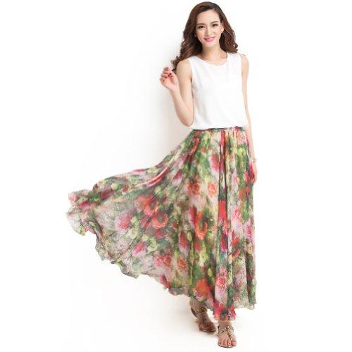 Floral Flounce Skirt - YSW Retro Bohemian Women's Floral Flounce Chiffon Swing Maxi Skirt Green&Red