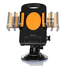 FYY® Detachable Rotating Mobile Phone Car Mount Bracket/holder for Amazon Fire Phone/ Iphone 5s/5c/5/4s/ Samsung Galaxy S5/s4/s3/ HTC ONE 8/7 and All Cellphones with 4.3 Inch-7.8 Inch Screen Size (Orange)