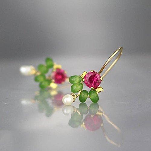 Handcrafted Petite Pink Green Gemstone Dangle Dancer Earrings