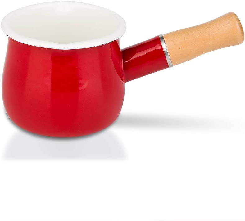 MDZF SWEET HOME 4-Inch Enamel Milk Pot Non-stick Mini Saucepan Butter Warmer with Wooden Handle Small Cookware 17Oz, Red