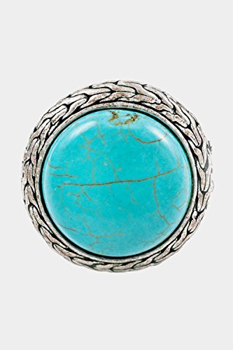 Trendy Fashion Jewelry Circular Stone with Patterned Border Stretch Ring By Fashion Destination (Verragio Ring Prices Engagement)