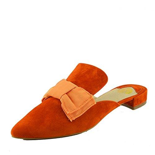 Arancione Muli Footwear Casual Giallo Scarpe Kick Punta Piatta Velluto A Pantofole Punto Slipper Donna Di S1a6q