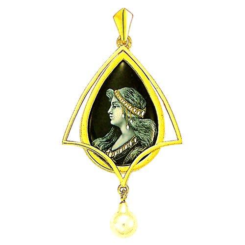 Souvenirs de France - Pendentif Émail de Limoges Style 'Art Nouveau' et Perle Authentique