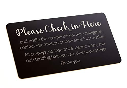 - Copay Check in Sign - Black with Laser Engraved Silver Text (9x5)