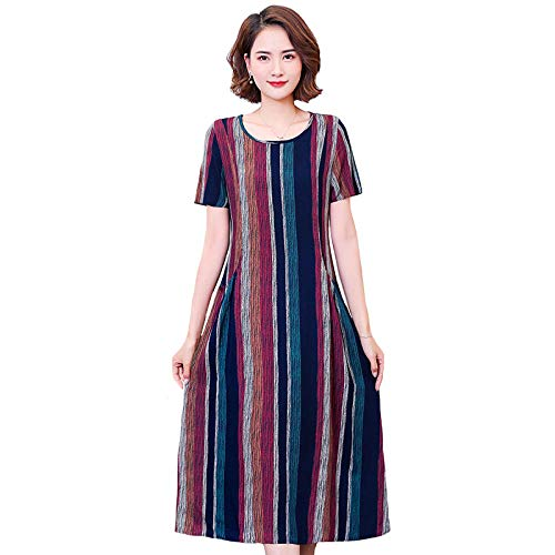 Mujer Dress Vestido Mujer Tallas Grandes 5xl Vestidos Largos Una Linea O Cuello Manga Corta Vestido De Mujer Estampado De Algodon