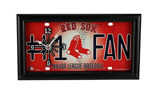 Good Tymes Enterprises, Inc. MLB Boston Red Sox Number 1 Fan License Plate Mantel or Wall Clock ()