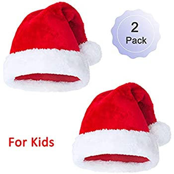 Amazon Com Plush Santa Hat Christmas Hats Merry Christmas Caps Red