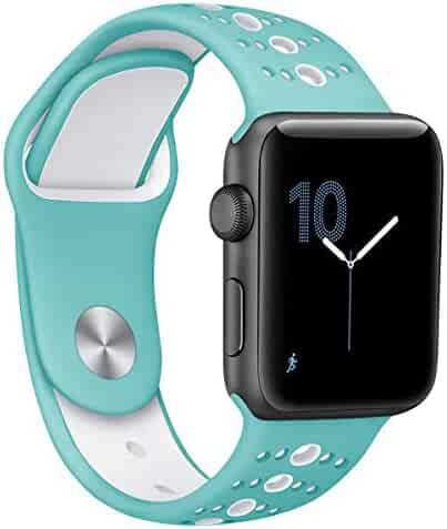 Compatible for Apple Watch Band 38mm 40mm 42mm 44mm,Breathable Soft Silicone Replacement for iWatch Series 4 3 2 1,Nike