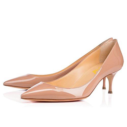FSJ Women's Mid High Kitten Heels Floral Print Shoes Pointy Toe Pumps Size 10 Nude