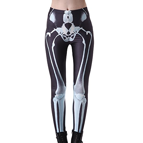 Chic Moon Women Leggings Seamless Tights Digital Printing Stretchy Footless Sexy Stockings X Ray ()