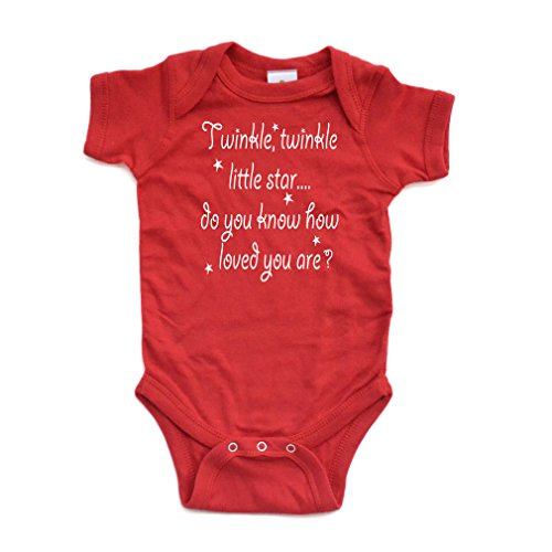 Cute Unisex Twinkle Little Star Nursery Rhyme Short Sleeve Comfy Baby Bodysuit Red