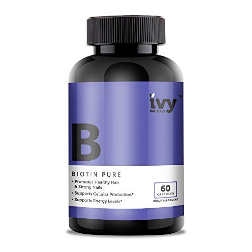 Biotin by Ivy Naturals || 60 Ct Pure and Powerful Biotin || Promotes Strong and Beautiful Hair || Strengthens Nails and Clears Skin || SATISFACTION GUARANTEED