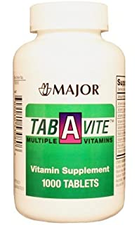 MAJOR TAB-A-VITE MULTIPLE VITAMINS TABS ASCORBIC ACID-60 MG Red 1000