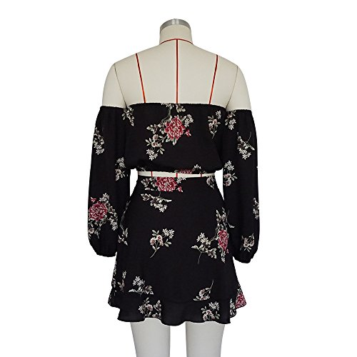 ALAIX Vestido de Mujer Playsuit Vestido de Mujer para Holiday Beach Juego de Traje de Cofre en Dos Conjuntos de Hombro Set Top + Falda Negro
