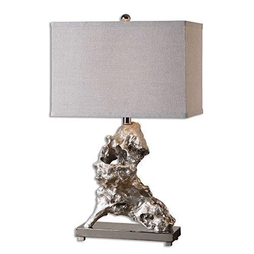 (Gold Metallic Driftwood Table Lamp | Abstract Coastal Modern)