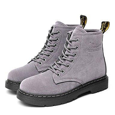 DESY Mujer Zapatos Aterciopelado Semicuero Otoño Invierno Botas de Combate Botas Tacón Plano Dedo redondo Botines/Hasta el Tobillo Combinación gray