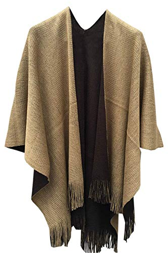Timemory Womens Winter Knitted Faux Cashmere Poncho Capes Shawl Sweater Brown (Poncho Sweater Brown)