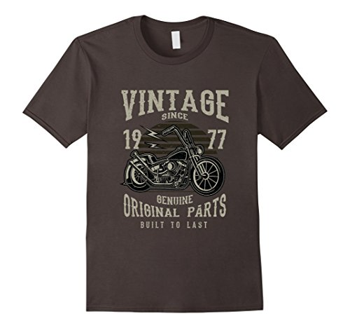 Mens 40th Birthday 1977 Vintage Retro Motorcycle Chopper Tshirt Large Asphalt