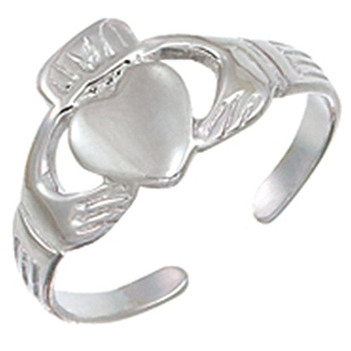 (Finejewelers Sterling Silver Rhodium Finish Claddagh Toe Ring)
