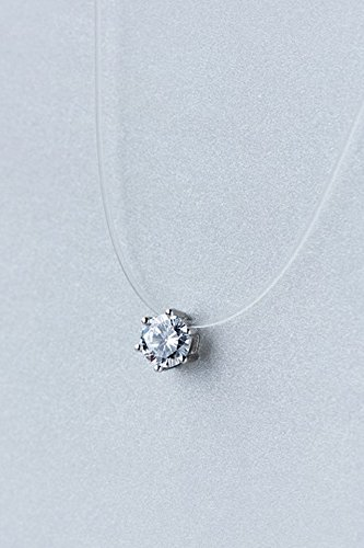 - Invisible Fishing line Necklace Pendant Short Clavicle Korean Round Zircon 6 Claw Set Diamond Women Girls Gift Woman