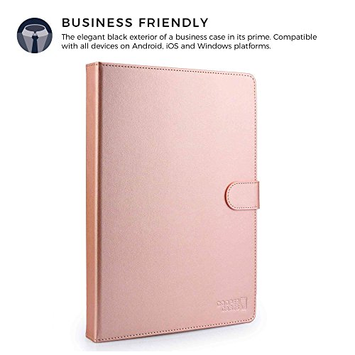 Cooper Backlight Executive Keyboard case for 7-8'' inch Tablets | 2-in-1 Bluetooth Wireless Backlit Keyboard & Leather Folio Cover | 7 Color LED Keys, 100HR Battery, 13 Hotkeys, Universal, Rose Gold by Cooper Cases (Image #4)