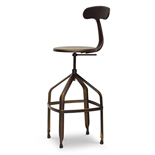 Wholesale Interiors Steel Bar Stool - Baxton Studio Architect's Industrial Bar Stool with Backrest, Antiqued Copper