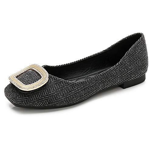 (Wollanlily Womens Square Toe Slip On Ballet Flats Ballerina Walking Flats Dress Shoes Plaid Black-02 8.5 US)