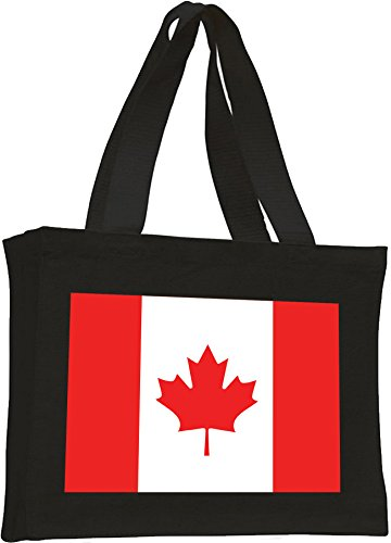 Canadian Flag, Cotton tote shopping bag Black
