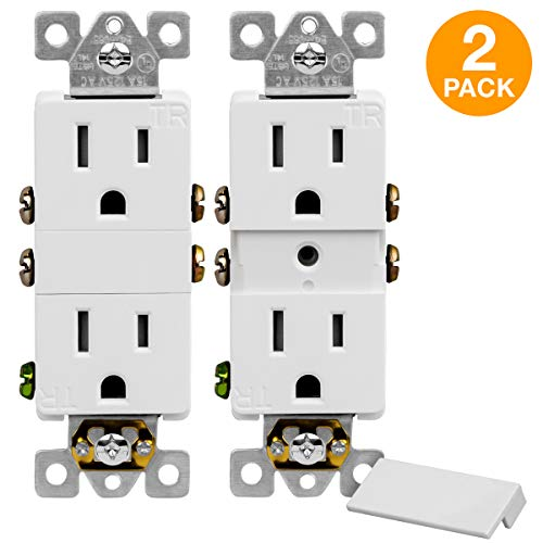 Outlet Grounded Wiring - TOPGREENER Decorator Receptacle Outlet with Grounded Center Screw Hole for Mounting Wall Tap Adapters, Residential Grade, Tamper-Resistant, UL Listed, 15A 125V, TG215TRIC-2PCS, White (2 Pack)