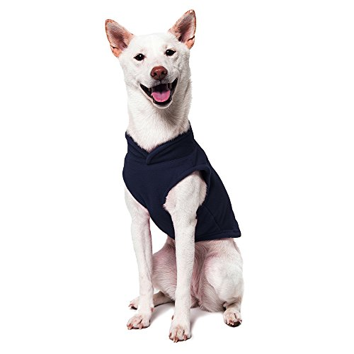 Image of Gooby - Fleece Vest, Small Dog Pullover Fleece Jacket with Leash Ring, Navy, Small