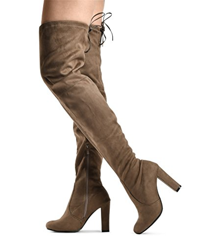 Block Fit Toe Snug Heel Thigh Pointy Womens Ashley01 Boots Knee High Suede Boots Drawstring Over Taupe the Round Stretchy HWpZwq1Y
