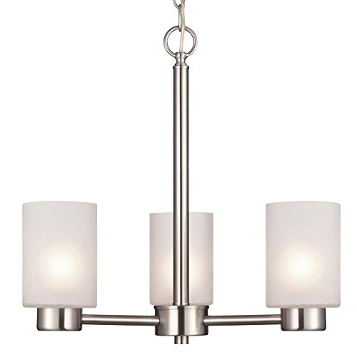 Westinghouse 6227500 Sylvestre Three-Light Interior Chandelier, Brushed Nickel Finish with Frosted Seeded Glass Westinghouse Nickel Chandelier