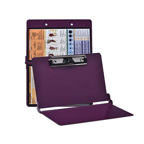 Wine Nursing Clipboard with Pen Holder, Foldable Nurse Clipboard with Generous Storage, Lightweight Aluminum Nursing Board, Ideal Gifts for Nursing Students, Nurses and Healthcare Professionals