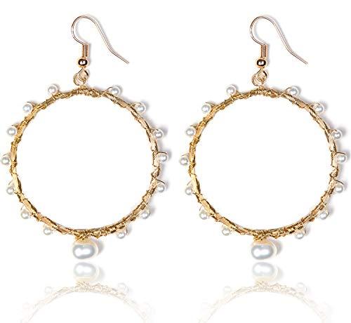 KissYan Handmade Pearl Dangle Drop Earrings Copper Wire Weaving Hollow Geometric Statement Earrings for Women Girls (01 Round)