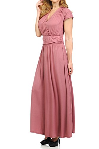 BellaTi Cap Sleeve Front Crossover Maxi Dress with Waist Band-Solid Rayon Spandex (MUV-L)