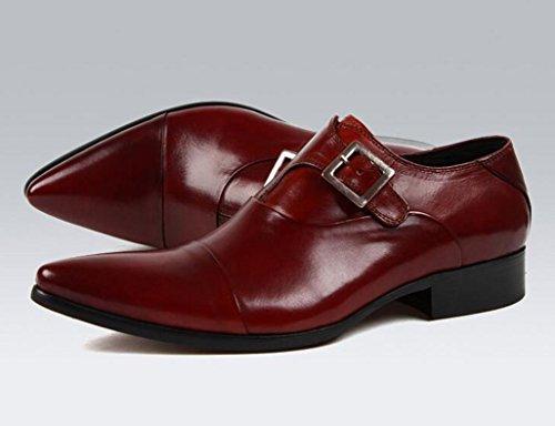 Zapatos Clásicos de Piel para Hombre Zapatos de cuero para hombres Ropa formal para negocios Zapatos únicos transpirables con punta ( Color : Red-brown , Tamaño : EU45/UK9 ) Red-brown