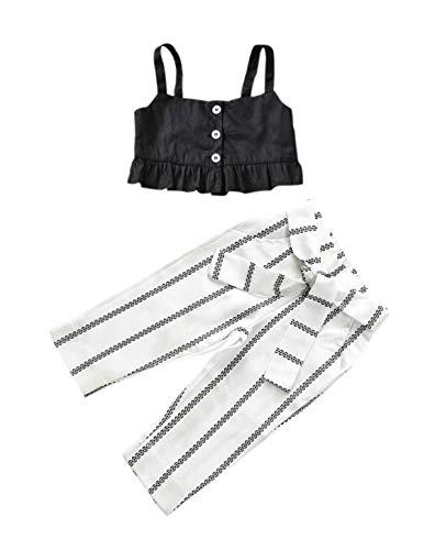 VISGOGO 1-6 Yrs Toddler Baby Kid Girl Outfit Halter T-Shirt Top + Flared Pants Clothes Set (White-2, 1-2 Years)