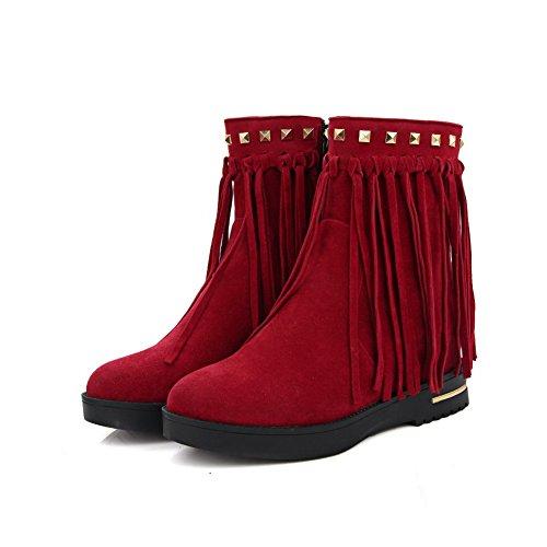 BalaMasa Womens Wedges Platform Slip-Resistant Rhinestones Tassels Suede Boots ABL10100 Red HnTJdXlYv