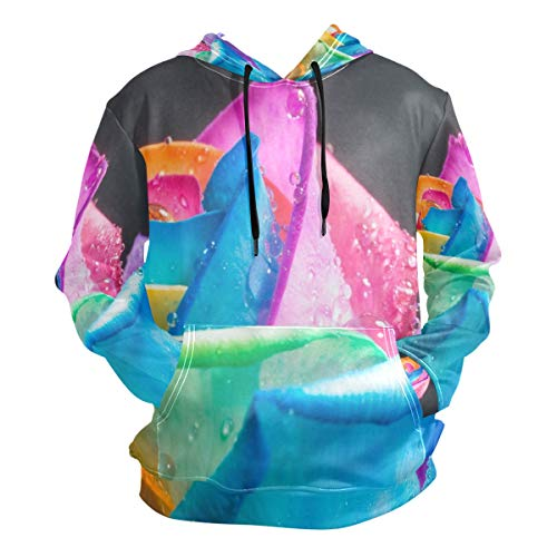 3D Hoodie Rainbow Roses and Water Drops Pullover Hooded Sweatshirts Long Sleeve Shirt (Canon Lens Hoodie)