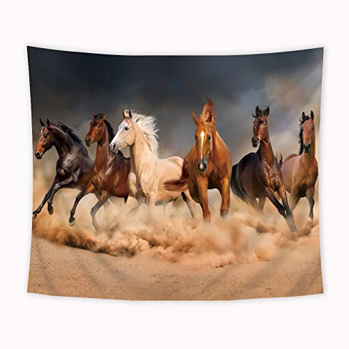 Riyidecor Six Horses Tapestry 51x59Inch Wild Animal Tapestry Lifelike Running Steed Tapestry Painting Wall Art Decor herb Wall Hanging Indigenous Bedroom Living Room