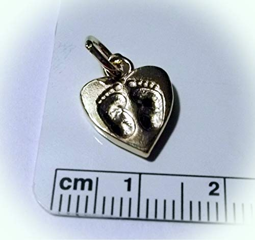 - 14 Kt Gold Vermeil Over Sterling Silver 15x12mm Heart with Baby Feet Foot Charm Vintage Crafting Pendant Jewelry Making Supplies - DIY for Necklace Bracelet Accessories by CharmingSS