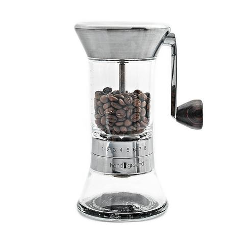 Handground Precision Coffee Grinder: Manual Ceramic Burr Mill - Brushed Nickel