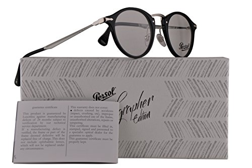 Persol PO3167V Calligrapher Edition Eyeglasses 47-22-145 Shiny Black w/Demo Clear Lens 95 PO 3167-V PO3167-V PO 3167V (Women Persol For Eyeglasses)