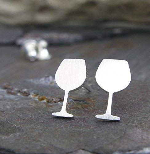 Wine Glass stud earrings brushed sterling silver vino jewelry. Handmade in the - Syrah Wine Malbec